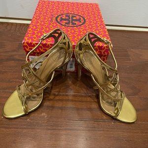 Amalie Tory Burch Heel Gold Strappy Size 6